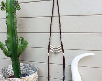 DESERT ROAD Festival Rock Native American inspired Bohemian Boho leather collar