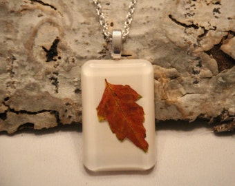 Autumn Leaf Necklace - Resin Jewelry - Real Leaf Resin Necklace