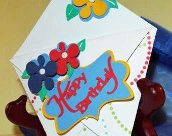 Happy Birthday - handmade gift card holder for him or her, or for kids, with a matching organza pouch - ORIGAMI