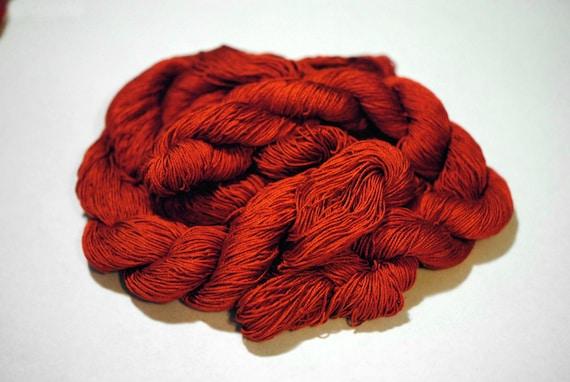 Brilliant Red Silk Skein Naturally Dyed Silk Ahimsa