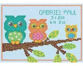 Cross Stitched Birth Record - Family Owls in a Tree