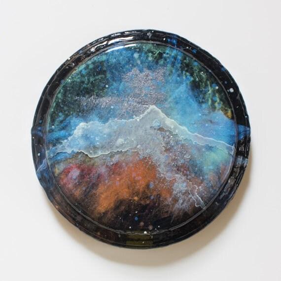 Wood Plaque Glow-in-the-Dark Nebula Painting