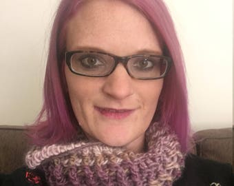 Purple ribbed crochet infinity scarf