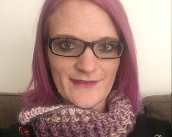 Purple ribbed crochet infinity scarf