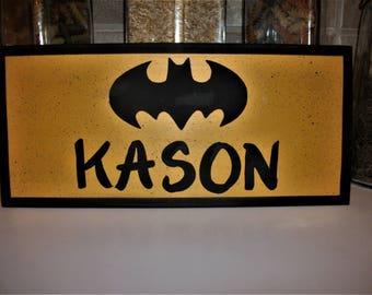 PERSONALIZED BATMAN sign,SUPERHEROES kids room sign,kids ,children,wood sign
