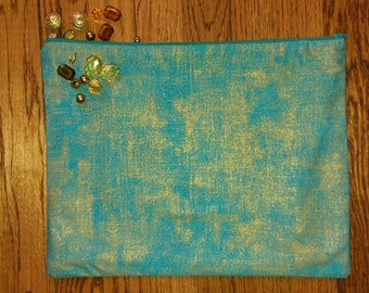 Blue Turquoise & Gold Fold Over Clutch Purse