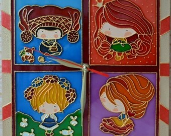 Wall clock.Stained glass.Clock little dolls.For children's room.Kids wall clock.Gift for girl.Unique wall clock.Princess Clock.Clock glass
