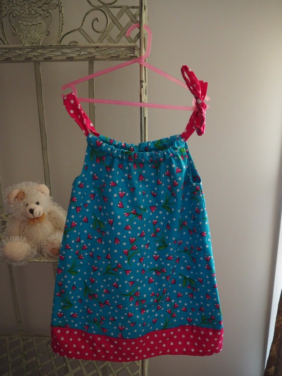 Bright Blue and Pink Pillow case dress. Size 4