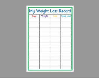 Personalised Weight Loss Chart Fitness Planner Slimming