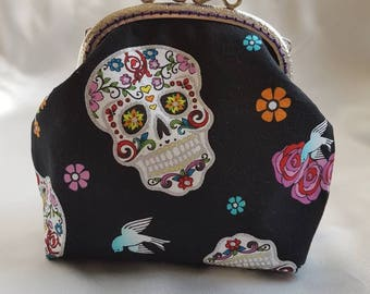 Super cute sugar skull mini clutch purse // rockabilly // clutch // purse // sugar skull