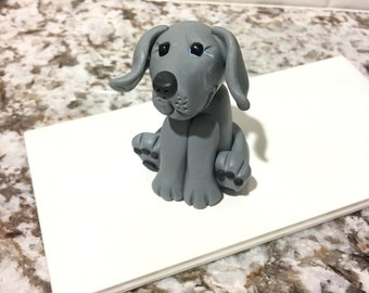 Polymer Clay Weimaraner Blue Ornament