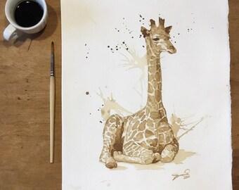 """Coffee giraffe ORIGINAL 28x38 cm (11.02x14.96"""" in)"""