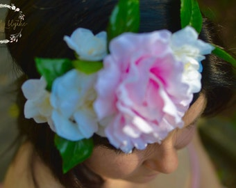 "The ""Alexis"" floral halo crown// pink wedding, garden rose wedding, summer wedding, bridesmaid headpiece, floral crown, floral headpiece"