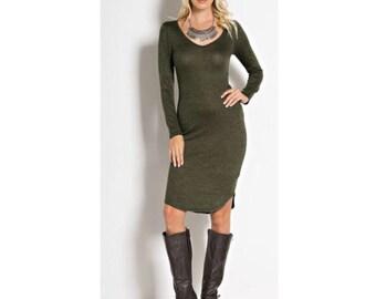 Green sweater dress, v neck sweater dress, long sleeve dress,  kneen length dress, long sleeve sweater dress, olive dress