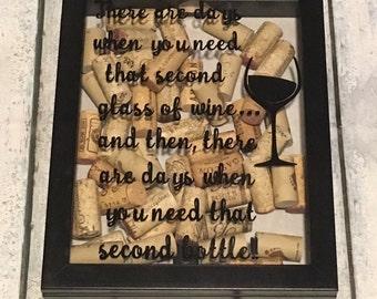 Wine cork shadow box. Wine cork frame. Wine cork collector. Wine enthusiast gift.