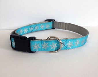 Blue and Silver Snowflakes Collar