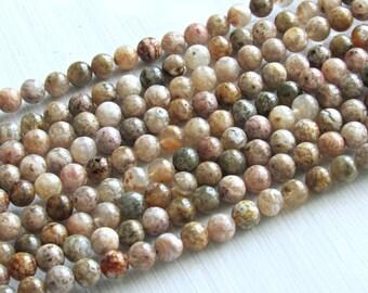 Pink Moss Agate, 6mm beads, full strand, A quality, Moss agate beads,  agate, pink agate beads, multicolor Moss beads, Mala beads