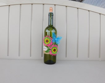 Wine Bottle Tiki Torch with Blue Butterfly