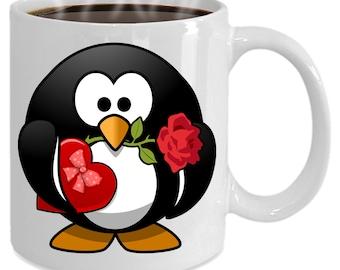 Funny Penguin Love Mug, mug, mugs, ceramic mug, unique, novelty, valentine, gift mug
