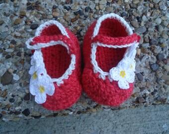 Crochet Baby Slippers,  Crochet Baby Booties, Baby Girl Booties, Red, Crochet Slippers