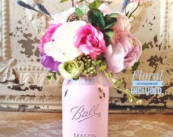 Mason Jar Decor, Floral Arrangement, Shabby Chic Decor, Silk Floral Arrangements, Painted Mason Jars, Spring Decor, Wedding Centerpiece