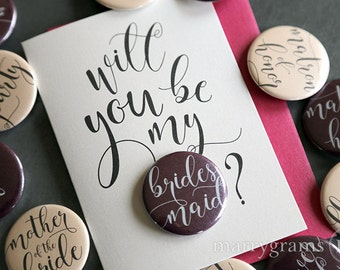 Will You Be My Bridesmaid Cards Button Will You Be My Matron of Honor, Maid of Honor, Flower Girl, Bridesmaid, Proposal Wedding Card (7ct)
