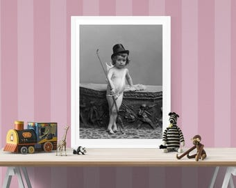 Cupid Photo, Boy Dressed as Cupid, Black White Photography, Children's Photograph, Boy's Decor, Gift For Her, Wall Decor, Art Print