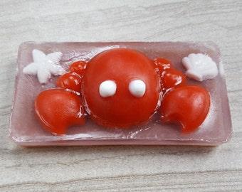 Crab Soap, Beach Theme, Sea Creature Soap, King Crab Theme, Marine Life, Bath Gift for Kids, Red Glycerin Soap, Bath Decorative Soap (4 oz)
