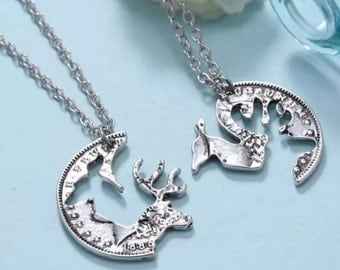 Coin necklace couples friend dow and buck