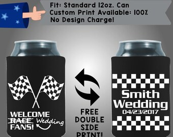Welcome Wedding Fans Names Wedding Date Collapsible Fabric Wedding Cooler Double Side Print (W197)