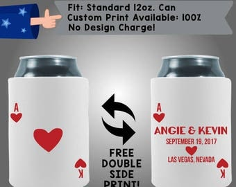 Cards Names Date City State Collapsible Names Date Neoprene Custom Can Cooler Double Side Print (W292)