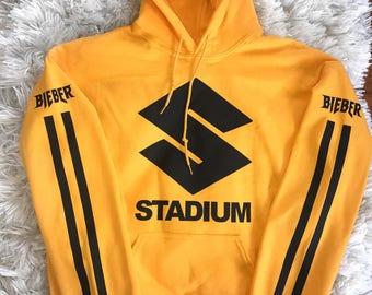 Purpose Tour Stadium Tour Yellow Gold Stadium Hoodie Justin Bieber