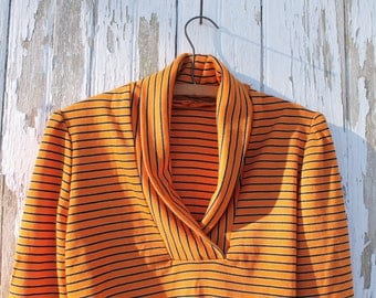 Vintage handmade black and orange striped long sleeved collared shirt, stretchy knit, puffy sleeves, small, neo-victorian style, 1970s