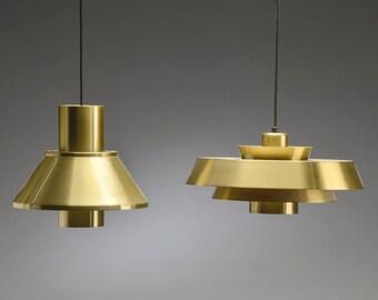 Mid Century ceiling lamp Nova and Life Pendants by Jo Hammerborg for Fog & Mørup 1960s, Set of 2
