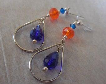 Bronco's Colored Czech Glass  Dangle Earrings!