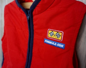 "1990s Baby Headquaters Zip-Up Red Vest with Car ""Formula One"" Patch - 12 months"