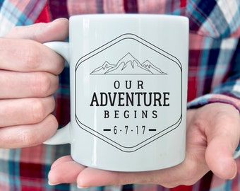 Our Adventure Begins Coffee Mug | Wedding Gift for couple | Adventure Mug Wedding gift Outdoor Couple Road Trip Camping Mug Mountain Gift