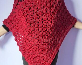 Poncho, Cape bordeaux did crochet