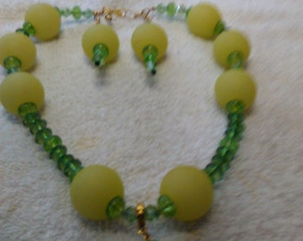 Beaded Necklace, earring set, large beads, one of a kind, statement necklace, Great gift