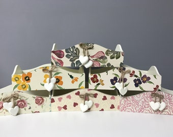 Hand Decoupage Wooden Heart Tidy Tray Emma Bridgewater or Cath Kidston Style