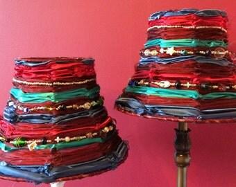Handmade Satin and Chiffon style fabric and Glass Bead Boho Lamp Shade Red, Jade and Blue.