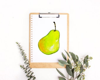 watercolour pear print, kitchen wall art, fruit art, watercolour fruit