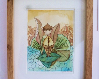 The journey of Xio (illustration, digital printing Giclee of original painting)