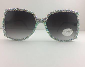 Crystalized crystal rhinestone diamond bling beauty rainbow sunglasses