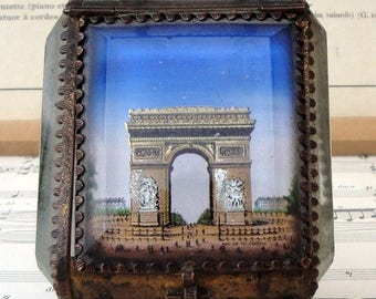 Antique French jewelry box / pocket watch holder with Arc de Triomphe Paris c1900