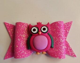 Pink sparkles owl baby nylon headband bow