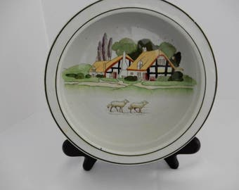 Antique Vintage Old England Child's Dish with English village and sheep motif