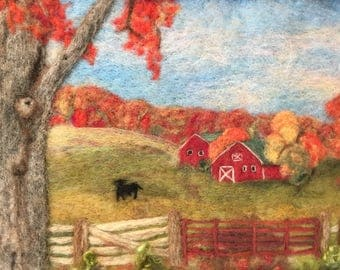 "Fall Scene, a needle felted fall landscape in a 12"" x 15"" frame"