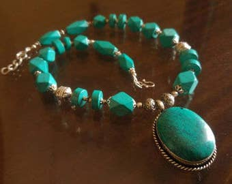 Huge antique Berber necklace with Turquoise beads, 96gr