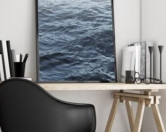 Fading Ocean, Water, Coastal, Sea, Beach, Minimalist, Art Print, Poster, Digital, Printable, Blue, Ripples, Scandinavian, Wall Decor